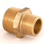 "Nipple Reducing 1""NPT x 3/4""NPT Brass"